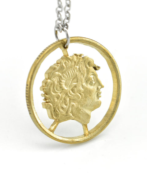 Greece - Cut Coin Pendant with Alexander the Great