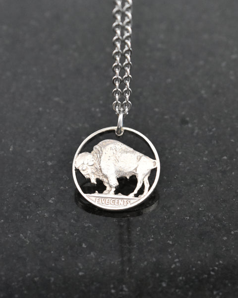 U.S. - Buffalo Nickel Cut Coin Pendant