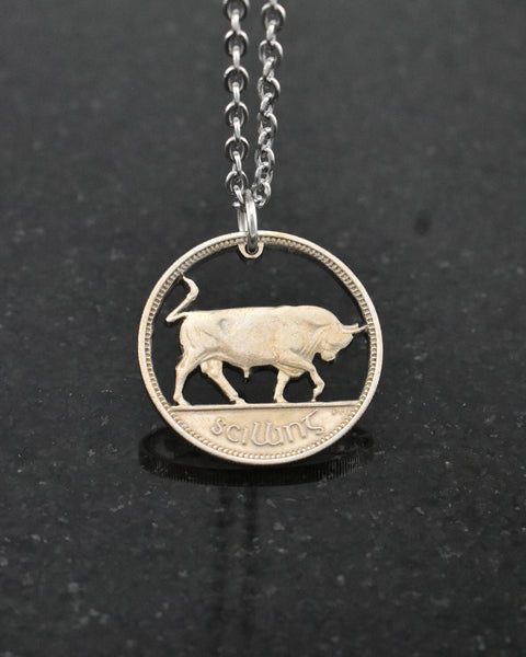 Ireland - Bull Cut Coin Pendant