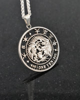 Japan - One Yen Dragon Cut Coin Pendant