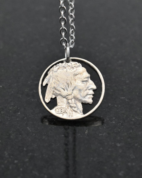 U.S. - Indian Head Nickel Cut Coin Pendant