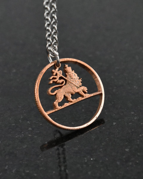 Ethiopia - Cut Coin Pendant with Lion