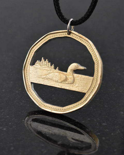 Canada - Cut Coin Pendant with Loon