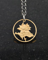 China - Lotus Blossom Cut Coin Pendant