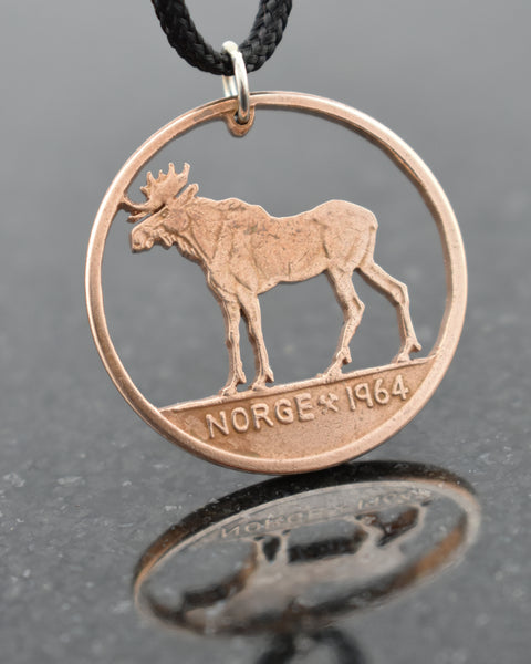 Norway - Cut Coin Pendant with Moose