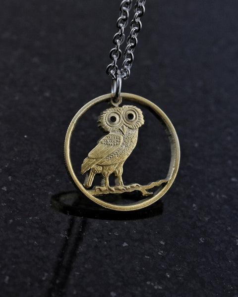 Greece - Owl Cut Coin Pendant (2 Drachmai)