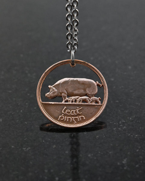 Ireland - Cut Coin Pendant with Pigs