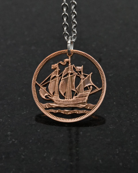 Great Britain - Ship Cut Coin Pendant