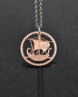 Cyprus - Cut Coin Pendant with Ancient Ship