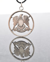 Egypt United Arab Republic Coat of Arms Cut Coin Pendant