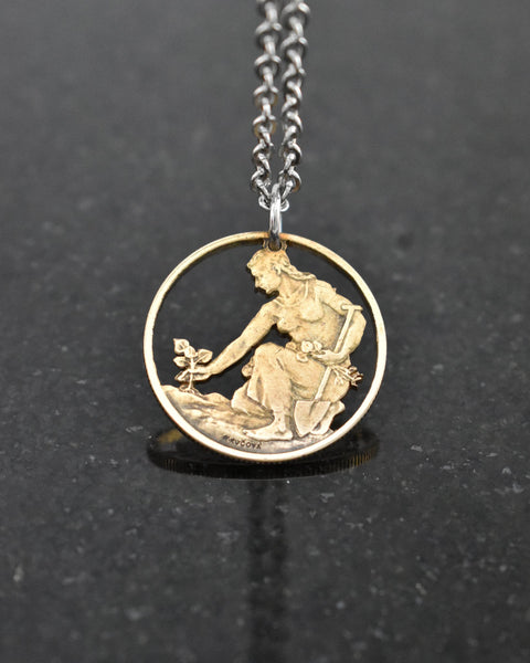 Czechoslovakia - Woman Planting Linden Tree Cut Coin Pendant