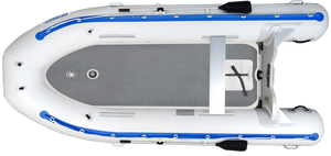large inflatable boat with oars mounted on it.