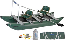 inflatable fishing pontoon boat equipped for fishing with a hold bar.