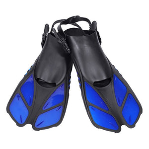 CAPAS Snorkel Fins, Snorkeling Fins Swim Fin Short Adjustable Diving Fins for Adult Men Womens Kids Scuba Diving Swimming Duck Feet Swim Travel Open Heel Flippers Snorkelling Fins (Blue, L/XL)