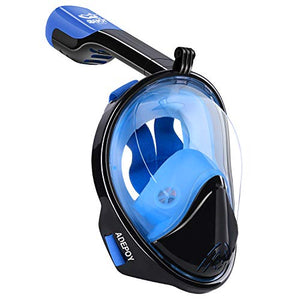 adepoy Full Face Snorkel Mask, Snorkeling Mask for Adults and Kids with Detachable Camera Mount, 180 Degree Large View Free Breath Dry Top Set Anti-Fog Anti-Leak Blue-Black L/XL