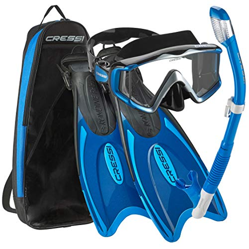 Cressi Palau Traveling Premium Snorkel Set, Panoramic Wide View Adult Diving Snorkeling Mask, Desert Dry Snorkel, Adjustable Fins, Travel Gear Bag - Metallic Blue - Large/X-Large