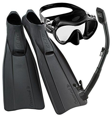 Cressi Clio Full Foot Fin Frameless Mask Dry Snorkel Set with Carry Bag, Black, Size 10/11-Size 45/46