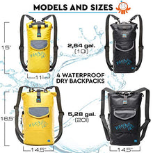 Luck route Waterproof Dry Bag with Backpack Straps and Pockets - Floating DryBag for Beach - Sack for Camera Kayaking Boating or Fishing 10l Black