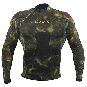 Wetsuit Shirt Spearfishing Green Camouflage Lycra Long Sleeve - 1.5mm (X-Large)