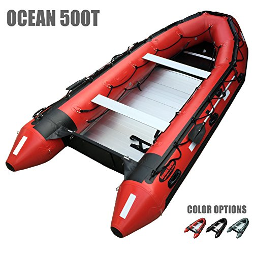 large red inflatable boat with transom and two seats