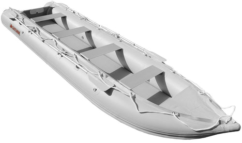 Inflatable fishing boat can be mounted with a optional motor.