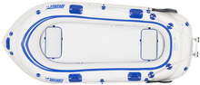 This blue and white raft is also a type of motormount boat