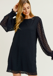 Textured Dotted Dress (S-L)(2 Colors)