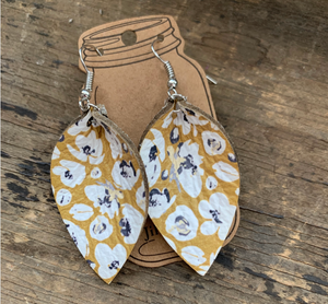 Mustard Yellow Poppy Print Leather Earrings
