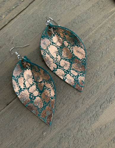 Metallic Rose Gold Green Leopard Leather Earrings