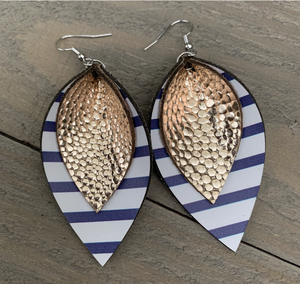 Blue and White Stripe with Gold Double Leather Earrings