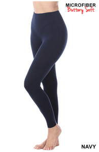 Microfiber Wide Waistband Leggings (2 Colors) (S-XL)
