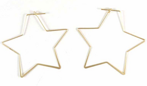 "Matte 2"" Star Earring,(Gold or Silver) Very Popular!"