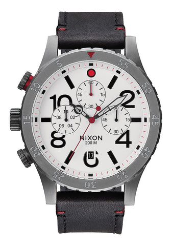 Nixon 48-20 CHRONO Leather Watch