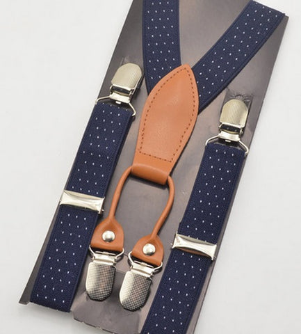 E-MALE Jnr Navy + White Pindot Braces