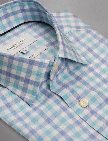 Hardy Amies 345SF Aqua Check Business Shirt