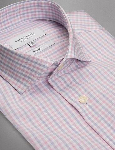 Hardy Amies 350SF Pink Check Business LS Shirt