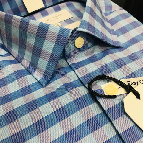 Hardy Amies 361SF Blue Check Business Shirt
