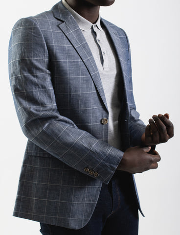 James Harper Windowpane Check Blazer