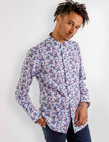 James Harper Bryant Abstract Leaves Print Shirt