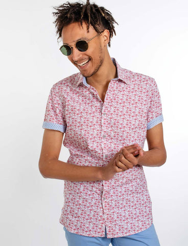 James Harper Connelly Large Flamingo Print Shirt