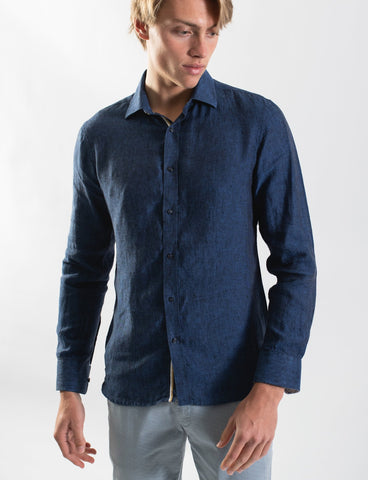 James Harper JHS346 NAVY LINEN L/S SHIRT