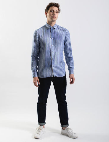 James Harper JHS349 Wide Stripe Linen Shirt