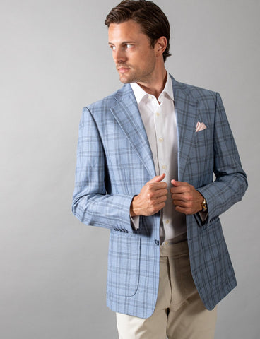 Hardy Amies SPJ005 Light Blue Check Sports Coat