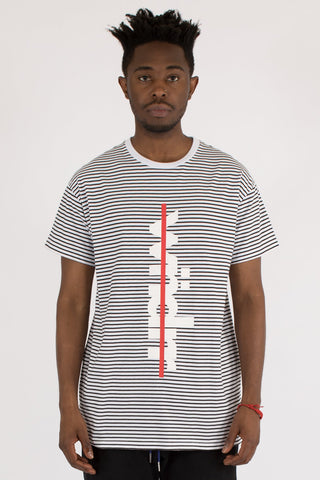 WNDRR OVERPASSED STRIPE CUSTOM FIT TEE - WHITE/BLACK