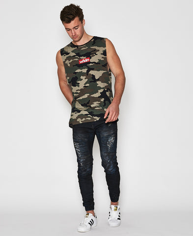 WNDRR STAPLE CAMO MUSCLE TOP