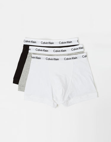 CK 2664 COTTON STRETCH 3 PACK LOW RISE TRUNK - BLACK/WHITE/GREY