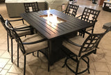 Stratford Aluminum Outdoor Fire Pit High Dining Set