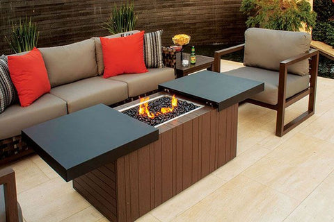 "48""x24"" Functional Fire Pit - Smooth Black Top"