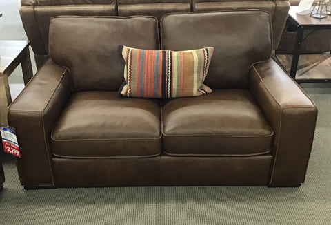 Artesia Leather Loveseat - FLOOR MODEL CLEARANCE FLUSHING
