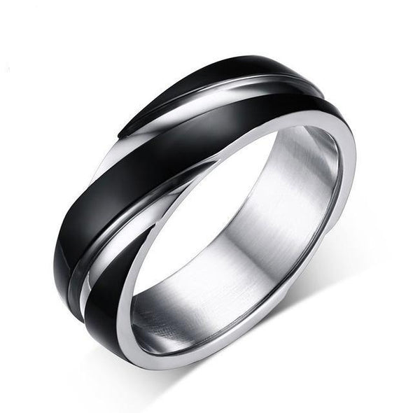 Silver and black ring